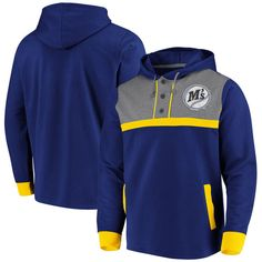 Men's Seattle Mariners Fanatics Branded Royal/Heathered Gray True Classics Button-Up Henley Pullover Hoodie