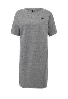 Платье Nike W NSW TCH FLC DRSS KNT Платье Nike. Цвет: серый.  Сезон: Осень-зима 2016/2017. Одежда, обувь и аксессуары/Женская одежда/Одежда/Платья