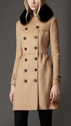 Mid-Length Wool Cashmere Fur Collar Trench Coat | Burberry