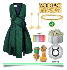 """taurus"" by polychampion-805 ❤ liked on Polyvore featuring Kate Spade, Valentino, A.W.A.K.E., Charlotte Olympia, Taurus, zodiacsign and zodiacjewelry"