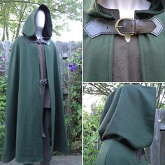Wool Renaissance Cape, Medieval Cloak, Hooded w/ Leather & Brass Buckle Closure Deluxe - /P/ (LB) Renaissance Costume, Medieval Costume, Renaissance Fair, Hooded Cape Pattern, Cloak Pattern, Medieval Cloak, Medieval Clothing, Fantasy Costumes, Cosplay Costumes