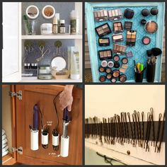 Best way to organize makeup and hair products....magnetic strips...I'm a fan!