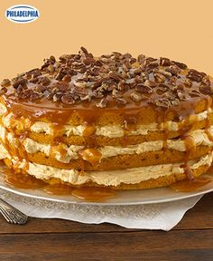 When you want to serve a show-stopping dessert, this one really takes the cake. Tap or click photo for this Luscious Four-Layer Pumpkin Cake #recipe.
