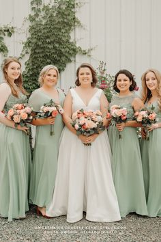 Sophisticated and flattering, these bridesmaids are looking their BEST in Kennedy Blue. The mismatched styles of green bridesmaid dresses brings out everyone's individuality! Plus, the pink, coral, and cream floral bouquets are the perfect accent!   mix & match bridesmaid dresses   sage green bridesmaid dresses   wedding color palette inspo   outdoor wedding photos   bride and bridesmaids   outdoor wedding photo inspo   #wedspiration   2022 brides and bridesmaids   #kennedyblue Mix Match Bridesmaids, Affordable Bridesmaid Dresses, Mismatched Bridesmaid Dresses, Green Bridesmaid Dresses, Brides And Bridesmaids, Wedding Dresses, Floral Bouquets, Summer Wedding, Wedding Colors