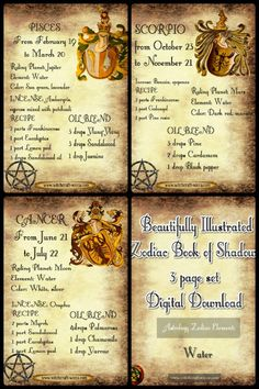 Wicca The Element Water-Zodiac Correspondences - Book of Shadows 3 prints
