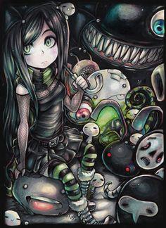 Gothic Anime Girl - Monster Land - Emo, Scene, Darkness, Alone, Rain, Cute, Monsters, green Eyes, Random, Digital Art, black hair
