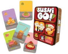 Pass The Sushi! In this fast-playing card game, the goal is to grab the best combination of sushi dishes as they whiz by. Score points for making the most maki rolls or for collecting a full set of sa