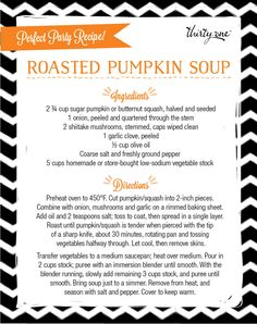Perfect Party Recipe! Roasted Pumpkin Soup.