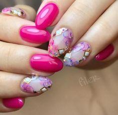 Short acrylic nails can shine equally as bright as long acrylic nails, we list 110 short acrylic nail art design ideas: short stilleto nails, short squoval nails, short matte nails and etc. Hot Pink Nails, Purple Nails, Red Nails, Red Purple, Matte Pink, Pink Nail Designs, Acrylic Nail Designs, Acrylic Nails, Nails Design