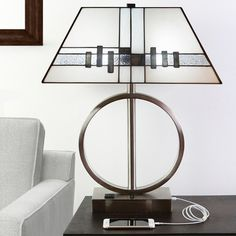 """23""""H Laurant USB Stained Glass Table Lamp with Electrical Outlet"""