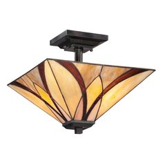 a modern take on Tiffany lighting. Quoizel Lighting Semi-Flushmount Light with Multi-Color Glass in Valiant Bronze Finish | TFAS1714VA | Destination Lighting