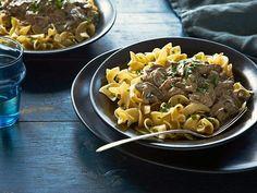 Get Chicken Liver Stroganoff with Greek Yogurt Recipe from Food Network