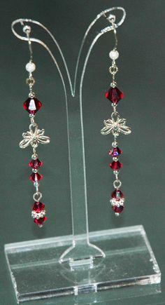 Ruby Flower Drop Earrings by KwaiJewellery on Etsy, $29.95