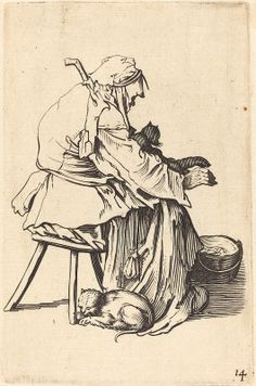 fter Jacques Callot French 17th Century Callot, Jacques French, 1592 - 1635 Old Woman with Cats