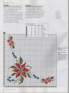 Gallery.ru / Фото #1 - TOALHAS DE MESA - celita Xmas Cross Stitch, Cross Stitch Borders, Cross Stitch Alphabet, Cross Stitch Flowers, Cross Stitch Designs, Cross Stitching, Cross Stitch Embroidery, Cross Stitch Patterns, Crochet Bedspread