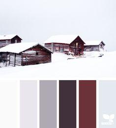 winter hues, by design seeds Design Seeds, Colour Pallette, Colour Schemes, Color Combos, Neutral Palette, Palette Design, Hallway Art, Colour Board, Winter Colors