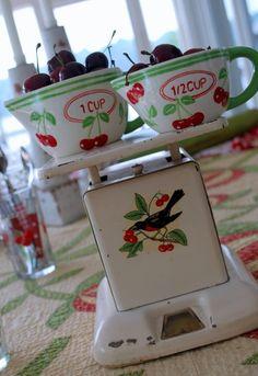 vintage kitchen scale, berries