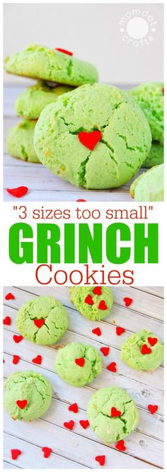 Grinch Cookie Recipe, 3 sizes too small heart cookies perfect for Christmas holiday that will delight kids and be a hit at your party christmas deserts Christmas Cookies Grinch, Grinch Cookies, Easy Christmas Cookie Recipes, Christmas Deserts, Xmas Cookies, Christmas Cooking, Holiday Desserts, Holiday Baking, Holiday Treats
