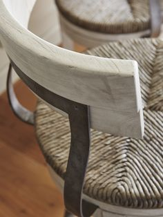 Hand woven rush sheet with metal back support from Lexington Furniture's Oyster Bay collection.  Available as a counter or bar stool.  #LHBDesign