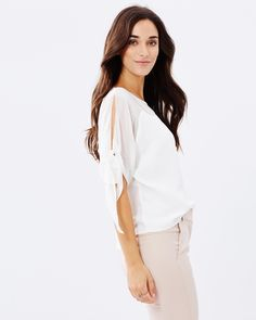 Belle Contrast Tie Top by Forcast Online | THE ICONIC | Australia