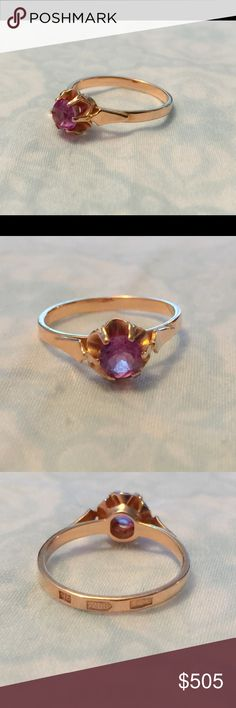 Vintage Russian Light Rose Gold Ring w/ Violet Gem Vintage light colored rose gold ring with a purple gemstone. I am unsure what the gemstone is. The Russian stamps are on the outside of the ring as seen in the pictures. Size 6. Jewelry Rings