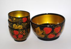 Khokhloma Original Russian Set - Hand Painted Lacquer Wooden Bowls - Made in Russia - Collectible Handmade Russian Traditional Folk Art by VintagePolkaShop on Etsy