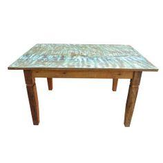 Mesa com tinta de 1,50 x 1,00 - 2452 #arte #moveis #rusticos - www.artemoveisrusticos.com.br