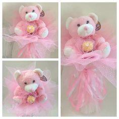 Plush Bouquet pink teddy bear gift for by ElenaHandmadeGifts