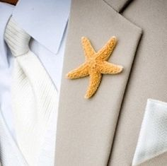 Beach Wedding Boutonniere, Groom Lapel Pins, Groom Starfish Pin, Proms, Beach Parties, Starfish Lapel Pin,Starfish Boutonnieres by SeashellCollection on Etsy https://www.etsy.com/listing/92174730/beach-wedding-boutonniere-groom-lapel
