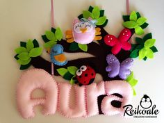 Felt name banner Baby Crafts, Felt Crafts, Fabric Crafts, Diy And Crafts, Banners, Felt Name Banner, Felt Wreath, Felt Mobile, Felt Decorations