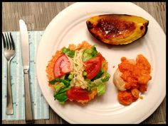 Baked chicken with rock shrimp, acorn squash with cinamon butter, Parmesan salad. Yum!