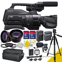 $$  Sony Hxr-mc2500u / Mc2500 with Wide Angle, Telephoto Lenses, Two 32gb Sd Cards,extra Battery, Charger , LED Light, and Camera Case + 5avecamera Accessory Package