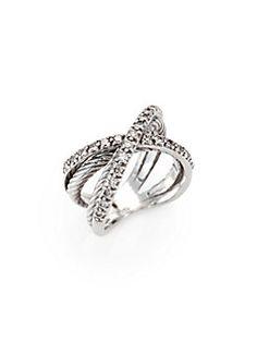 David Yurman - Diamond & Sterling Silver Crossover Ring