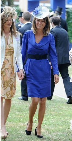 Carole Middleton attends the 2010 Ascot, in a familiar blue Reiss dress.