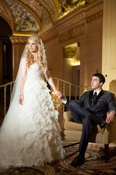 real wedding inspiration big city chicago bride groom portrait indoor palmer house