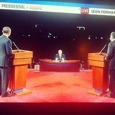 Justin's Political Corner | @barackobama and @mittromney at the #denverdebate podiums.