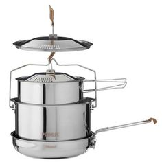 Campfire Cookset Large: A family-sized camping cookset you can use over an open fire. Made of durable stainless steel, the 2 pots and frying pan don't have plastic handles that could melt under Camping Stove, Camping Kitchen, Glamping, Casseroles, Pot Lids, Packing List For Travel, Large Pots, Outdoor Cooking, Camping Equipment