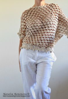 Outstanding Crochet: beautiful Loose cream lacy Top with Pom-poms
