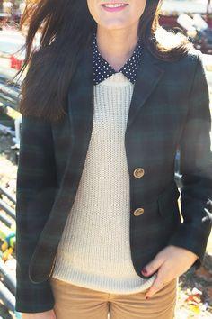 fall plaid, polka dots, and cableknit