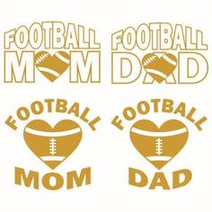 Football Mom and Dad Pack Cuttable Design Cut File. Silhouette Cutter, Silhouette Clip Art, Silhouette Machine, Silhouette Cameo Projects, Silhouette Design, Mom Clipart, Vector Clipart, Funny Football Shirts, Apex Embroidery