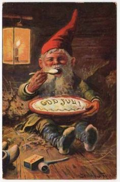 Nystrom Artwork Christmas Postcard of A Gnome Eating | eBay--$16