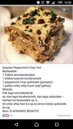 Tart Recipes, Sweet Recipes, Baking Recipes, Snack Recipes, Dessert Recipes, Milktart Recipe, Peppermint Crisp Tart, South African Desserts, Dessert Bread