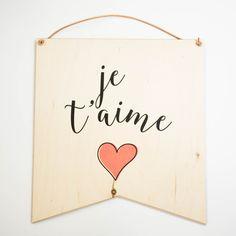 """Je T'aime"" wall hang decor"