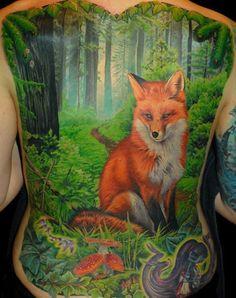 Realistic fox back tattoo