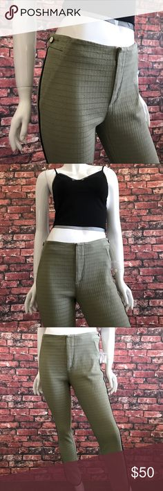 NEW Free People Textured Ankle Pant NEW Free People Olive Green Textured Ankle Pants. Size 6. Textured. Zip fly and hook closure. Side adjustment buttons. Black trim and slit at ankle. NWOT (tags removed and label slightly defaced at time of purchase). Pet and smoke free home. No Trades! Bundle and save! Inquire below with questions! Thanks for looking, sharing, and saving. Free People Pants Ankle & Cropped