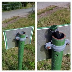 Tricky little geocache hiding in a signpost in northern Germany.  Can you see the string in the pic on the left?  #IBGCp
