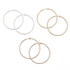 Mixed Metal Clip-On Hoop Earring Set | Icing US