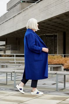 The mood-boosting properties of a colourful coat — That's Not My Age Fashion Editor, Fashion Shoot, Fashion Models, Elements Of Color, Navy Coat, Devil Wears Prada, Bond Street, Blue Coats, Camel Coat