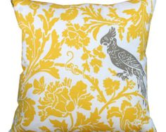 Throw Pillows- Premier Prints Yellow and Taupe Bird Pillow Cover- All Sizes- Hidden Zipper Closure- Yellow Cushion Cover- Sofa Pillow