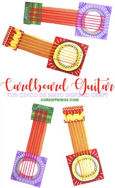 This simplified, shapes based, Cinco De Mayo Cardboard Guitar Craft is such a colorful, creative way to honor and learn about the celebration. Spring Crafts For Kids, Holiday Crafts For Kids, Crafts For Kids To Make, Easter Crafts For Kids, Toddler Crafts, Christmas Activities For Kids, Craft Activities, Cardboard Guitar, Guitar Crafts